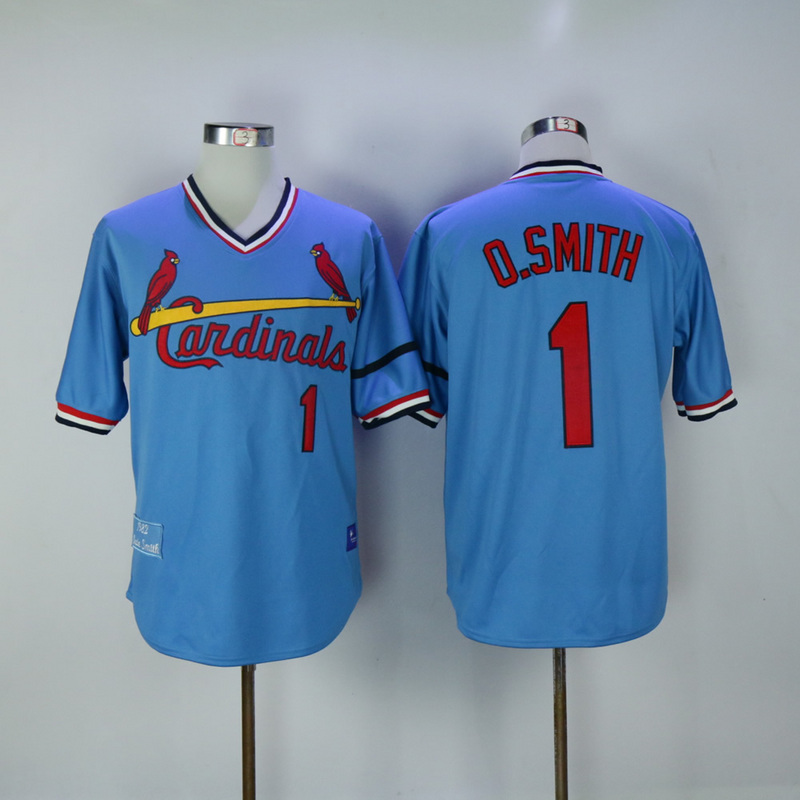 2017 MLB St. Louis Cardinals 1 O.Smith Blue Throwback Jerseys