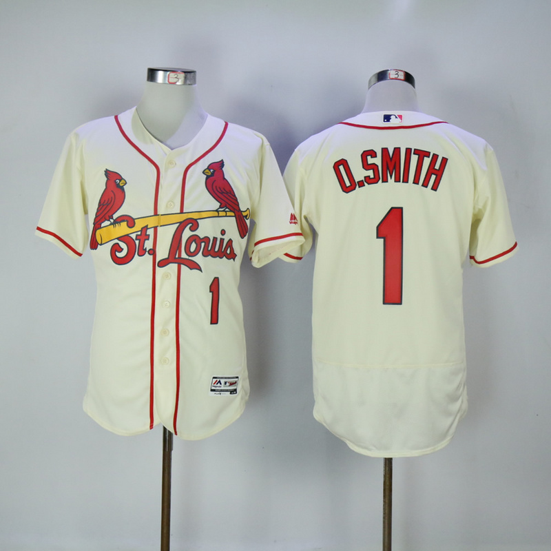 2017 MLB St. Louis Cardinals 1 O.Smith Cream Elite Jerseys