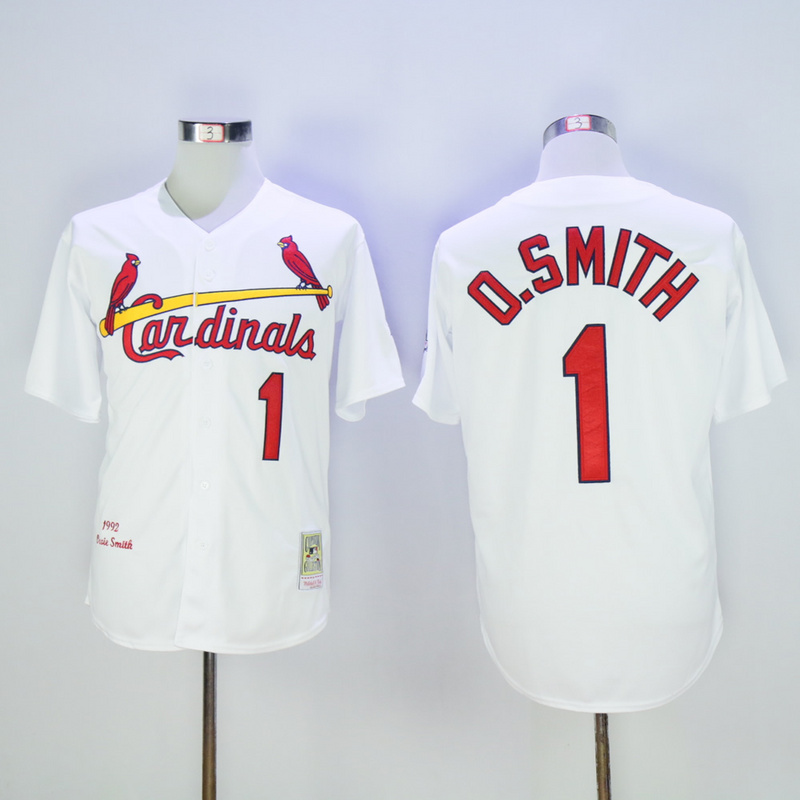 2017 MLB St. Louis Cardinals 1 O.Smith White Throwback Jerseys