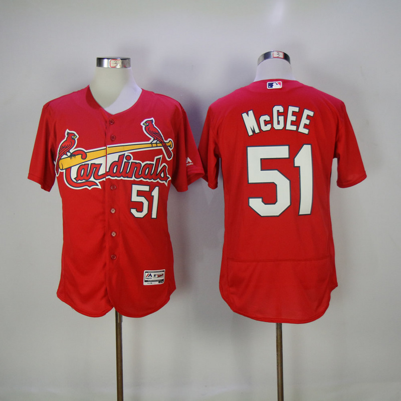 2017 MLB St. Louis Cardinals 51 Mcgee Red Elite Jerseys