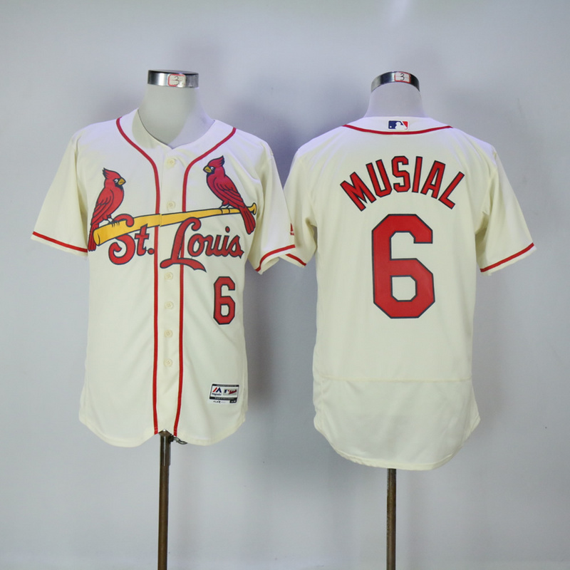 2017 MLB St. Louis Cardinals 6 Musial Cream Elite Jerseys