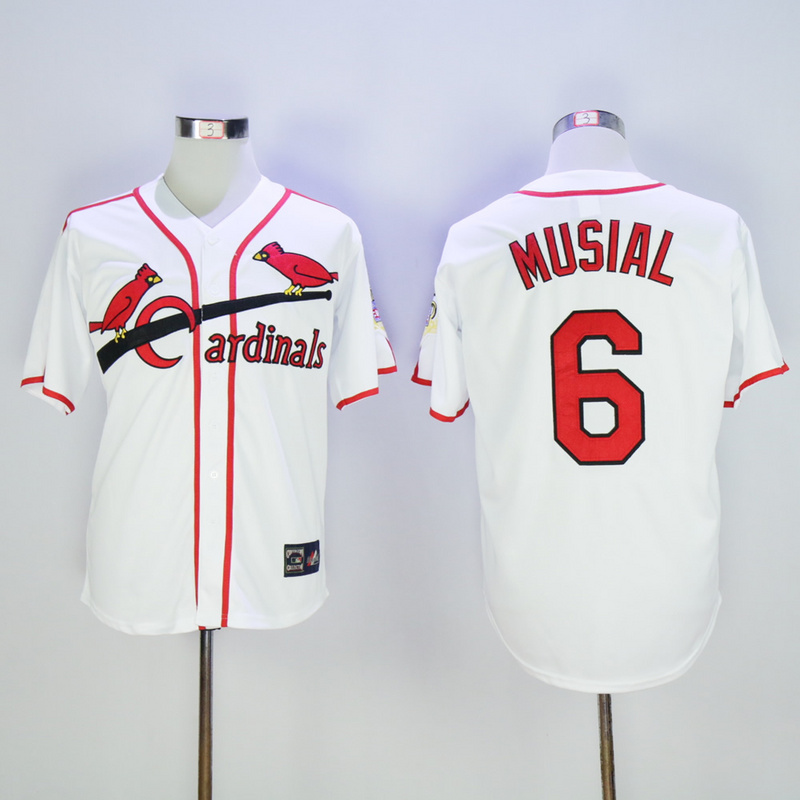 2017 MLB St. Louis Cardinals 6 Musial White Throwback Jerseys