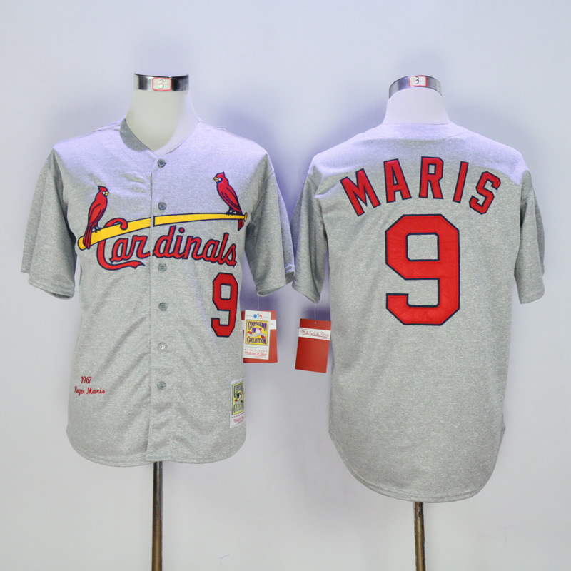 2017 MLB St. Louis Cardinals 9 Maris Grey 1967 Throwback Jerseys