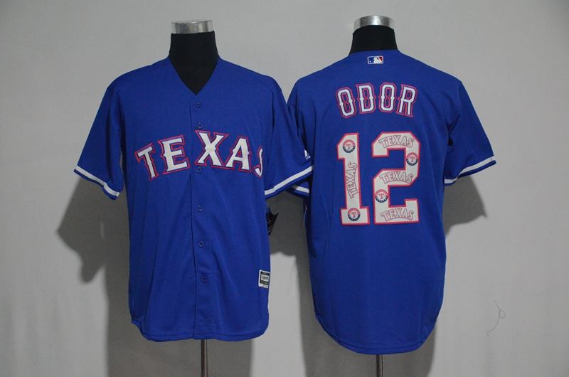 2017 MLB Texas Rangers 12 Odor Blue Fashion Edition Jerseys