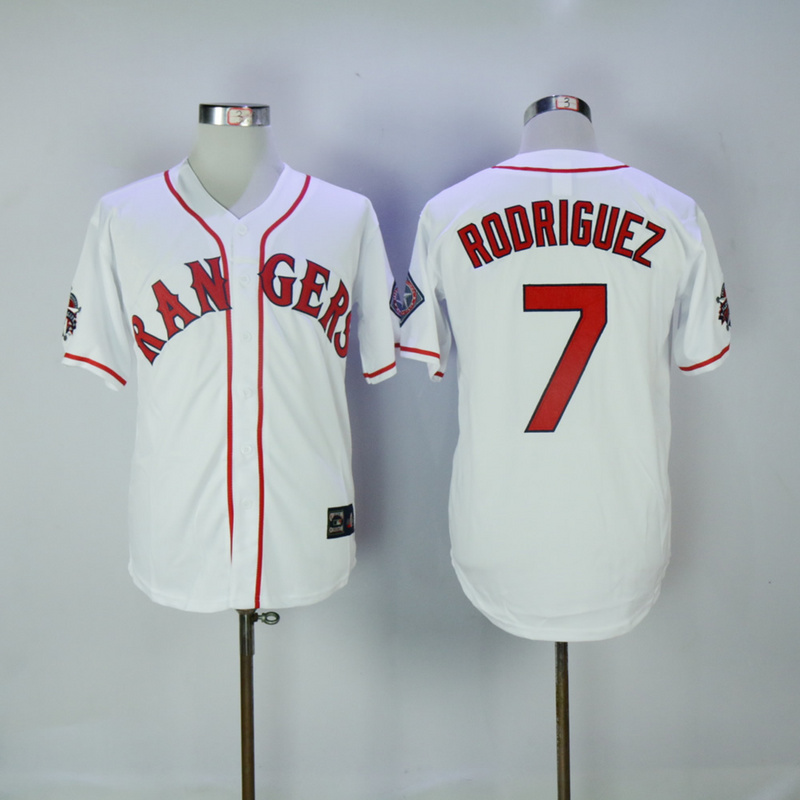 2017 MLB Texas Rangers 7 Rodriguez White Throwback Jerseys