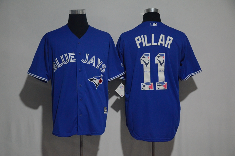 2017 MLB Toronto Blue Jays 11 Pillar Blue Fashion Edition Jerseys
