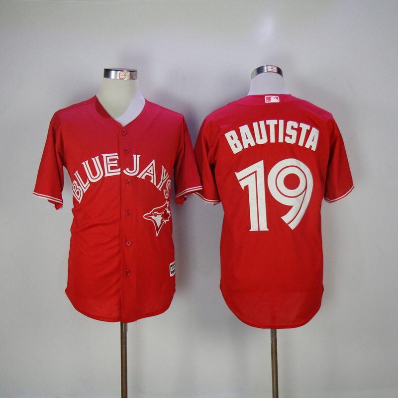 2017 MLB Toronto Blue Jays 19 Bautista Red Game Jerseys