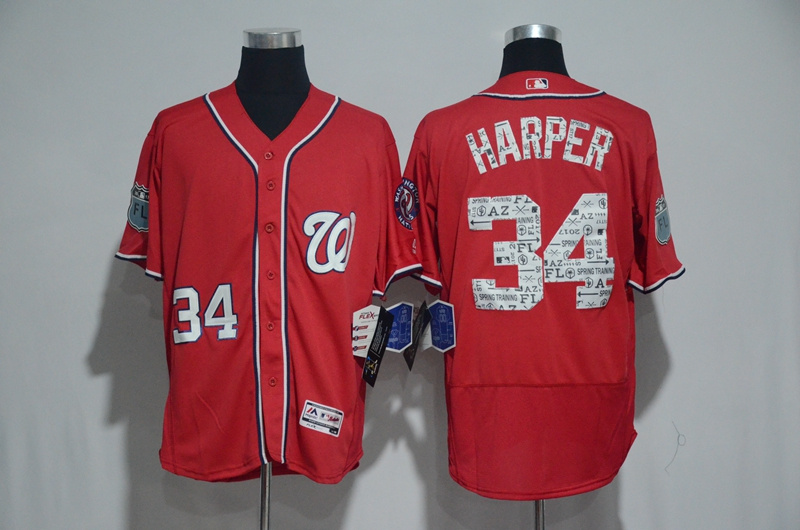 2017 MLB Washington Nationals 34 Bryce Harper Red Spring Training Flex Base Jersey