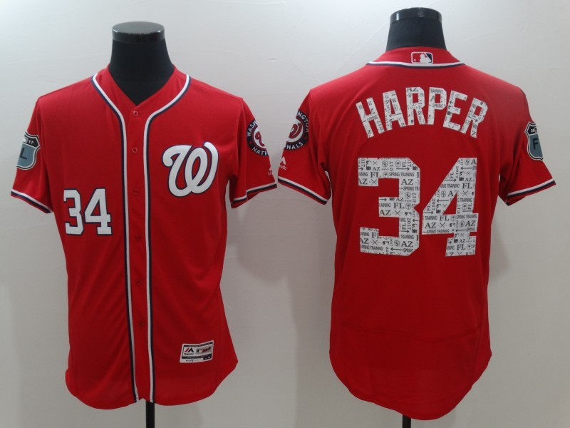 2017 MLB Washington Nationals 34 Harper Red Jerseys
