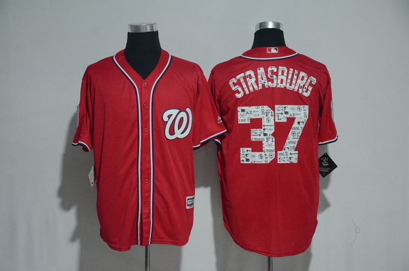 2017 MLB Washington Nationals 37 Strasburg Red Fashion Edition Jerseys