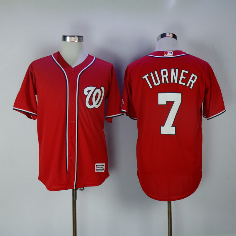 2017 MLB Washington Nationals 7 Turner Red Game Jerseys