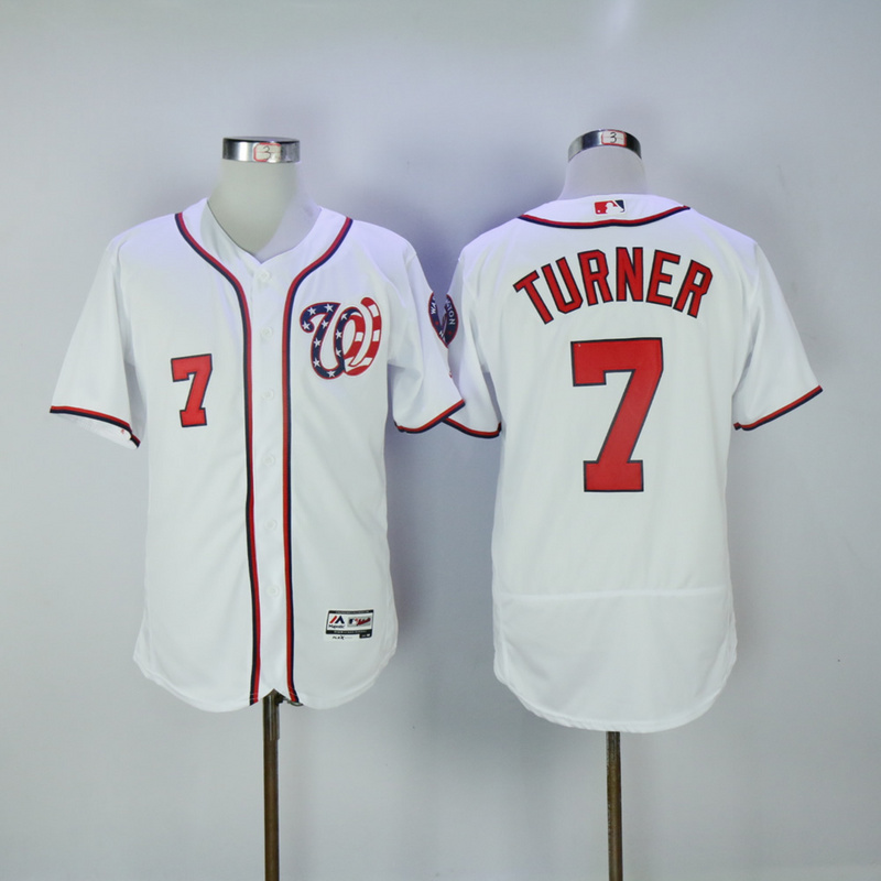 2017 MLB Washington Nationals 7 Turner White Elite Jerseys