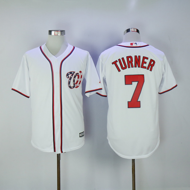 2017 MLB Washington Nationals 7 Turner White Game Jerseys