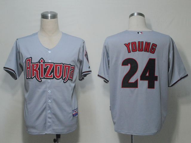 MLB Arizona Diamondbacks 24 Young Grey Jerseys