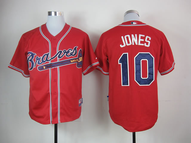 MLB Atlanta Braves 10 Chipper Jones Red Jerseys