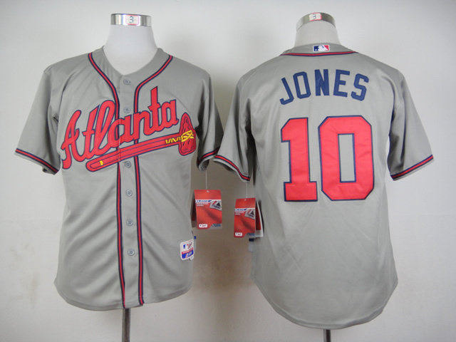 MLB Atlanta Braves 10 Jones Grey 2015 Jerseys