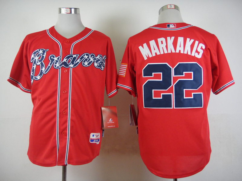 MLB Atlanta Braves 22 Markakis Red 2015 Jerseys