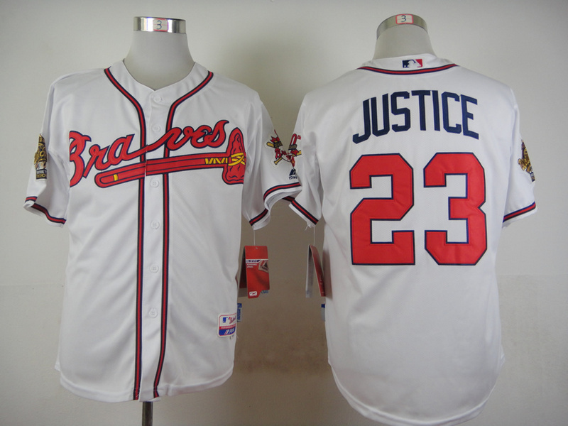 MLB Atlanta Braves 23 Justice White Throwback Jersey