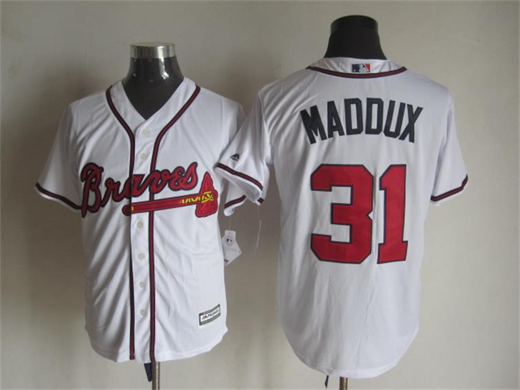 MLB Atlanta Braves 31 Greg Maddux White 2015 Jerseys