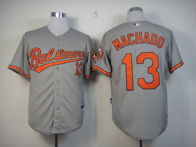 MLB Baltimore Orioles 13 Machado Grey Jerseys