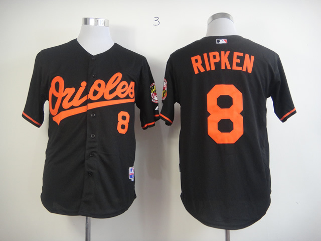 MLB Baltimore Orioles 8 Cal Ripken Black Jerseys