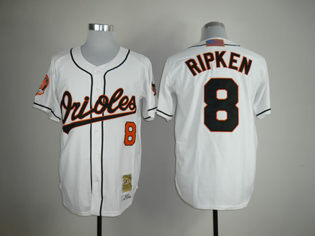 MLB Baltimore Orioles 8 Cal Ripken White Jerseys