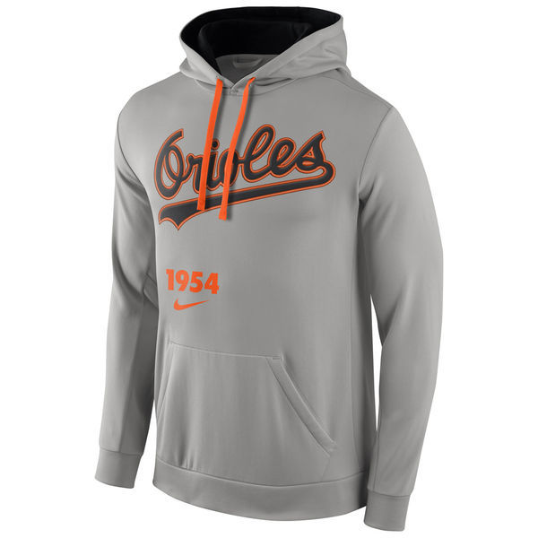 MLB Baltimore Orioles Nike Cooperstown Performance Pullover Hoodie - Gray