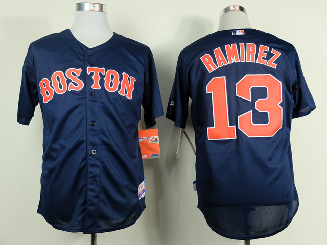 MLB Boston Red Sox 13 Hanley Ramirez Blue Jerseys