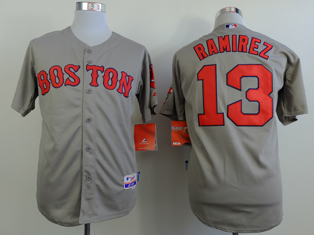 MLB Boston Red Sox 13 Hanley Ramirez Gray Jerseys