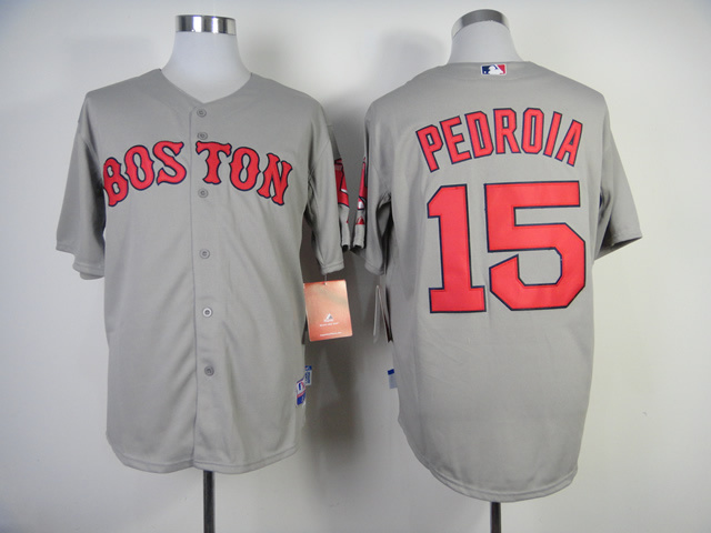 MLB Boston Red Sox 15 Dustin Pedroia Grey Jerseys