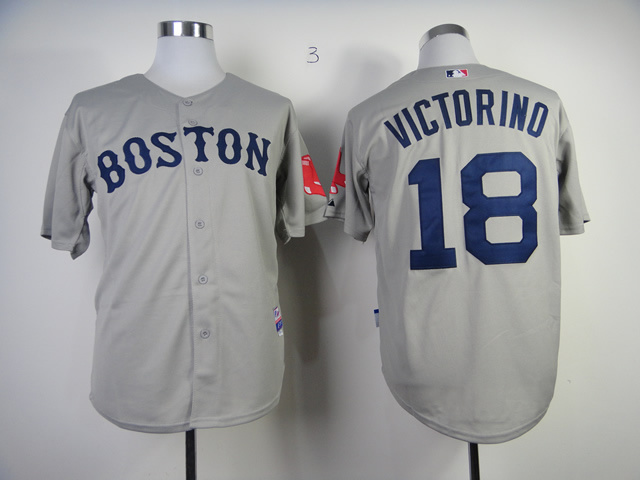 MLB Boston Red Sox 18 Shane Victorino Gray Grey Jerseys