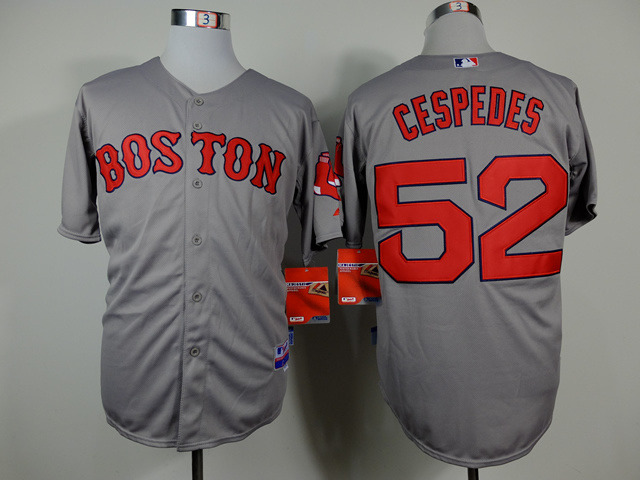 MLB Boston Red Sox 52 Yoenis Cespedes Gray Jerseys