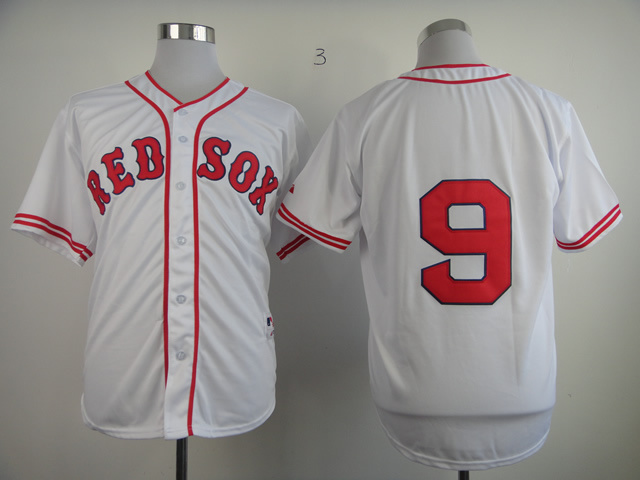 MLB Boston Red Sox 9 Ted Williams White 1936 The Clock Jerseys