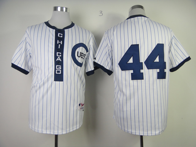 MLB Chicago Cubs 44 RIZZO White Pinstripe 1909 Turn The Clock Jersey