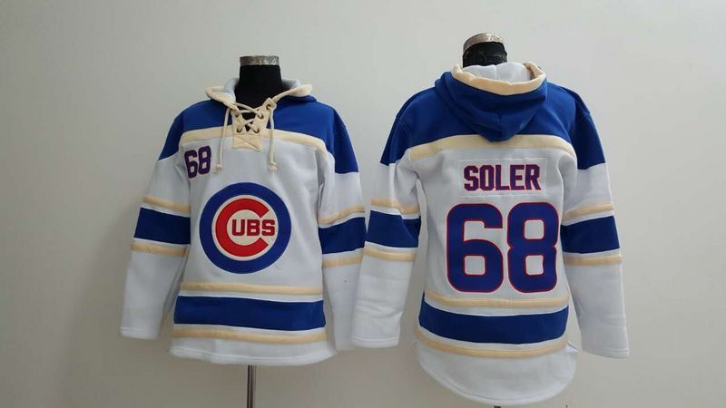MLB Chicago Cubs 68 Soler white Lace Up Pullover Hooded Sweatshirt