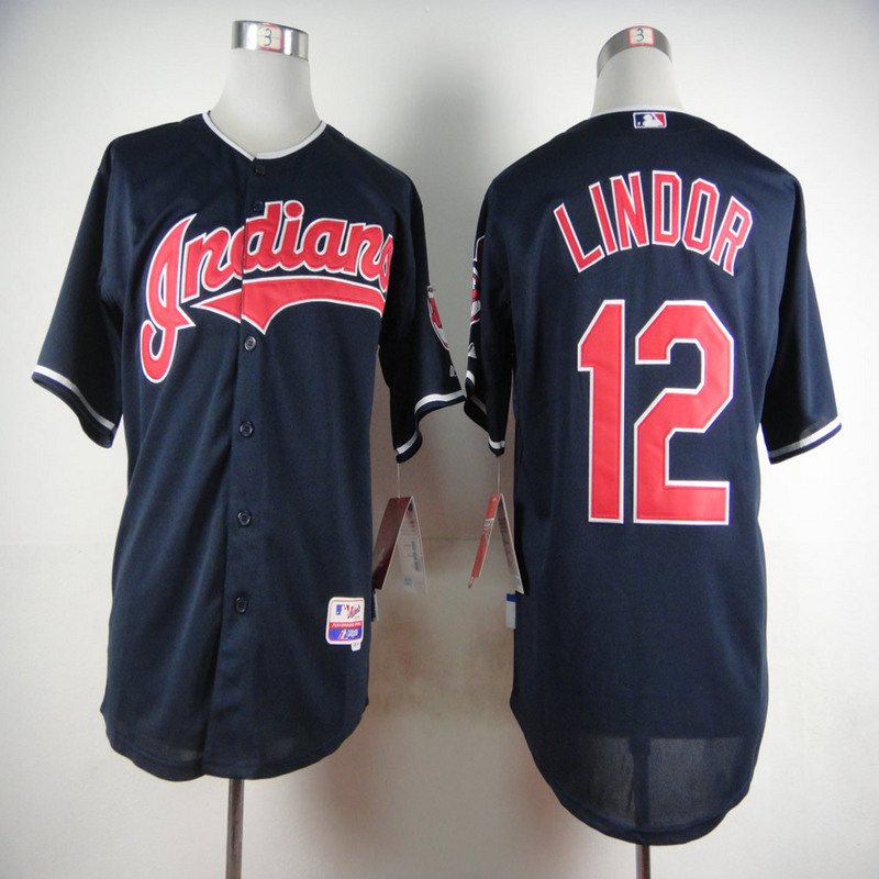 MLB Cleveland Indians 12 Francisco Lindor Blue 2015 Jerseys