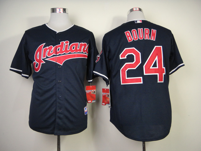 MLB Cleveland Indians 24 Bourn Blue Jerseys