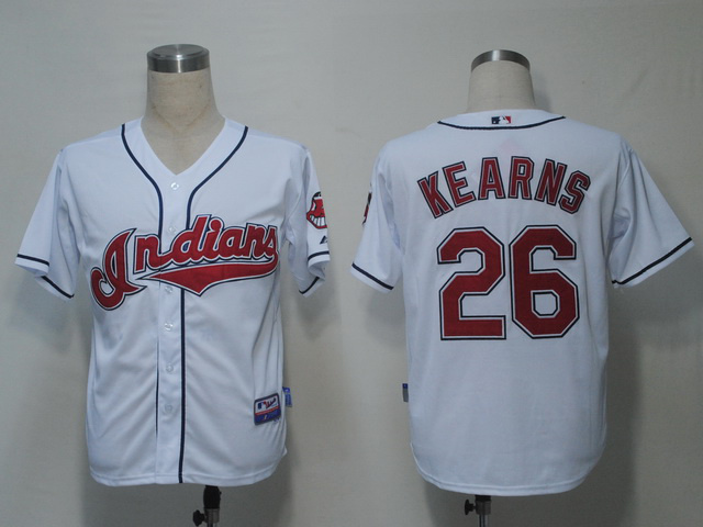 MLB Cleveland Indians 26 Kearns White Jerseys
