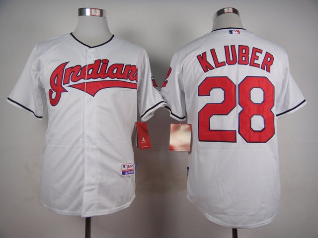 MLB Cleveland Indians 28 Kluber White 2015 Jerseys