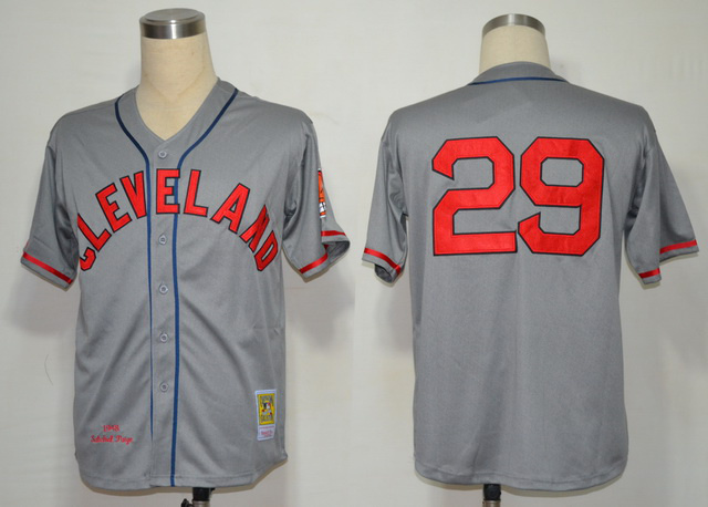 MLB Cleveland Indians 29 Satchel Paige Grey Gray MN 1948 Jersey