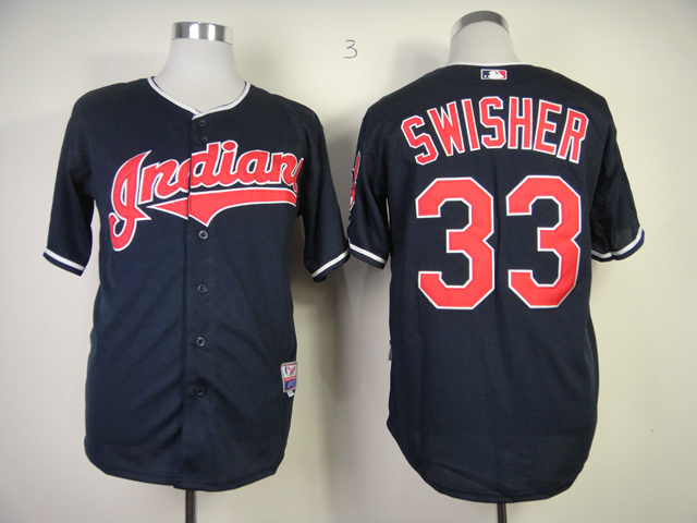 MLB Cleveland Indians 33 Nick Swisher Blue Jerseys
