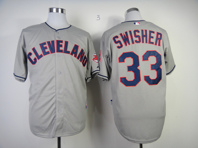 MLB Cleveland Indians 33 Nick Swisher Gray Grey Jersey