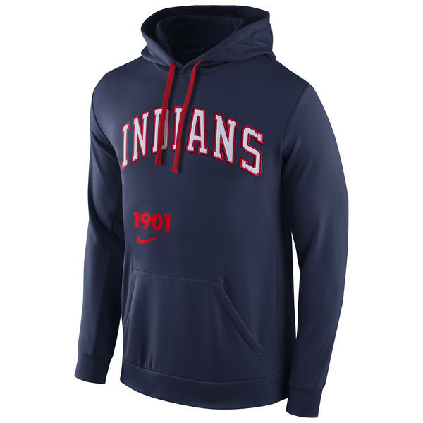 MLB Cleveland Indians Nike Cooperstown Performance Pullover Hoodie - Navy Blue