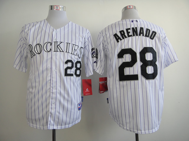MLB Colorado Rockies 28 Arenado White Stripe Jerseys