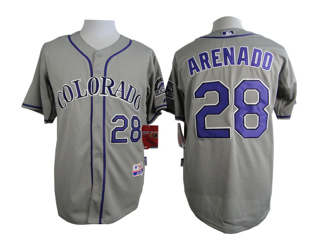 MLB Colorado Rockies 28 Nolan Arenado Grey 2015 Jerseys
