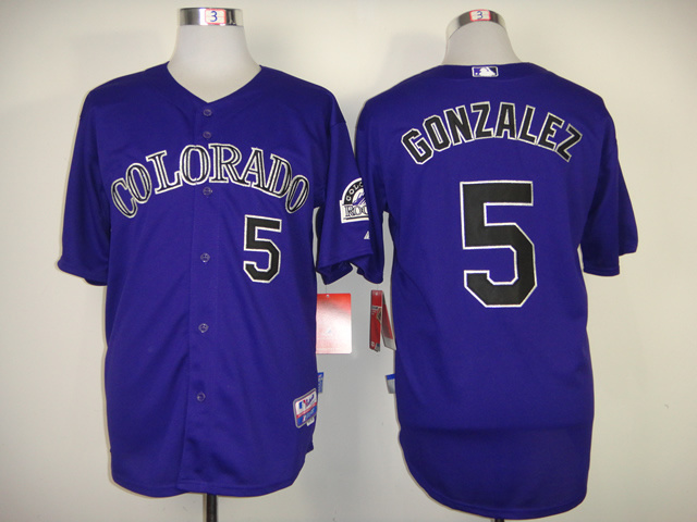 MLB Colorado Rockies 5 Gonzalez Purple Jerseys