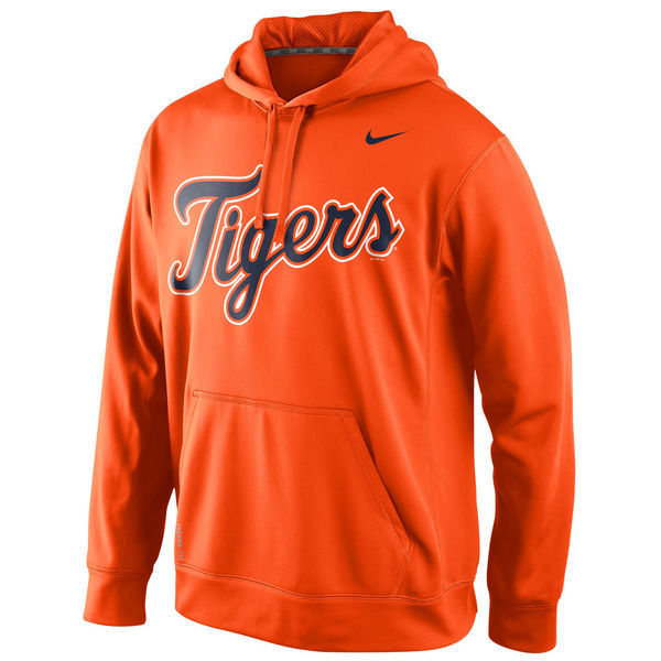 MLB Detroit Tigers Nike Mens KO Wordmark Perfomance Hoodie - Orange