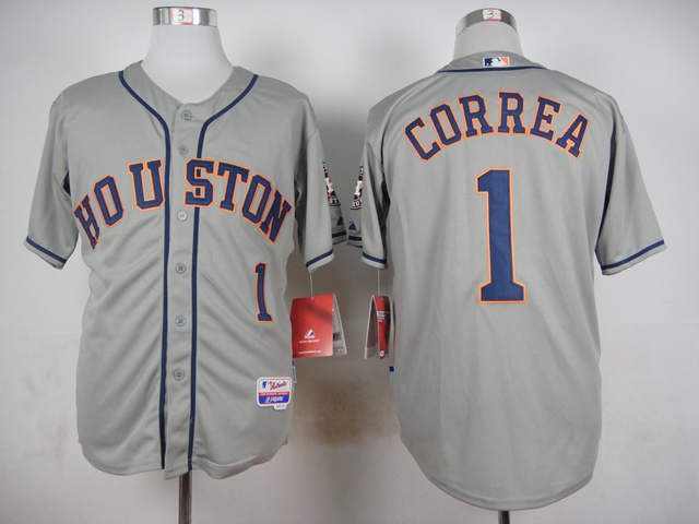 MLB Houston Astros 1 Correa Grey 2015 Jerseys