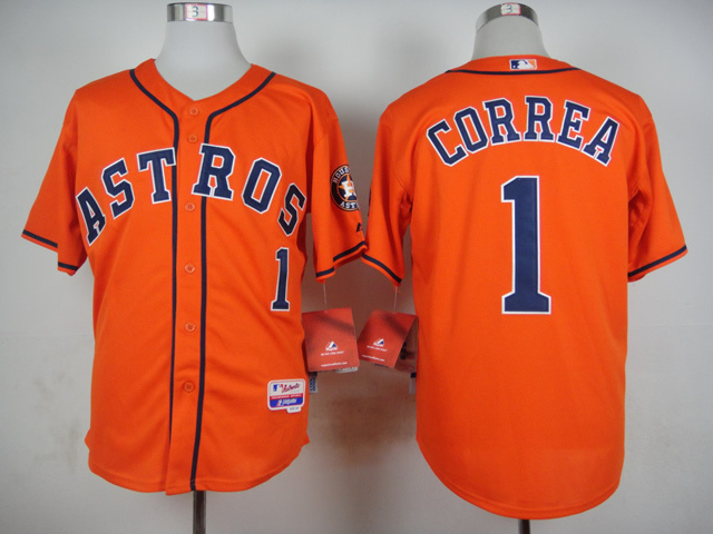 MLB Houston Astros 1 Correa Orange 2015 Jerseys