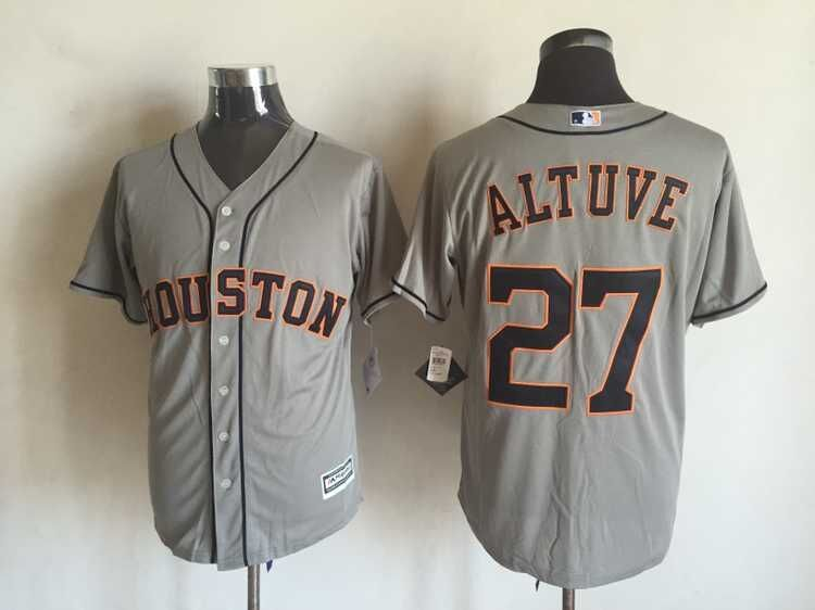 MLB Houston Astros 27 Jose Altuve Grey 2015 Jerseys